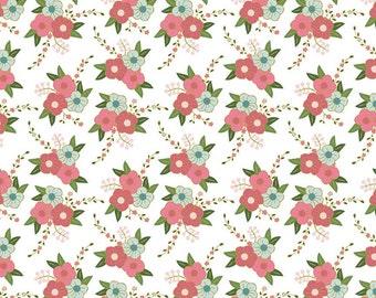 Metallic Gold Floral Fabric - Riley Blake Wonderland Bunny Fabric - Flower Fabric
