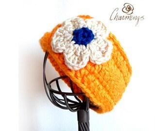 HEADBAND - Sunny Flower Crochet Headband, Ear Warmer, Ear Cozy, Ear Gator, School Color, Team Color, School Spirit, Cheerleader, College