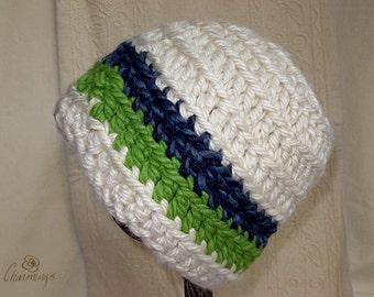 Seahawk's Skull Cap, Unisex Ski Hat, Seahawk's color hat, winter hat
