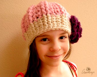 The Sarah Peony Slouch, Crochet slouch hat, Girl's toddler hat, Flower Hat, Pink hat with purple flower