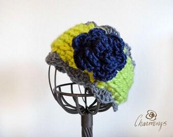 Seahawks Sounders Rose Crochet Headband, Ear Warmer, Ear Cozy, Ear Gator, Football, Girl, Child Size, Sport Fan Apparel, NFL
