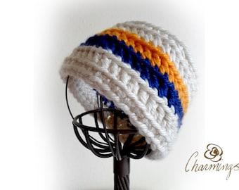 HEADBAND - Retro Stripe Crochet Headband, Ear Warmer, Ear Cozy, Ear Gator, School Color, Team Color, School Spirit, Cheerleader, College