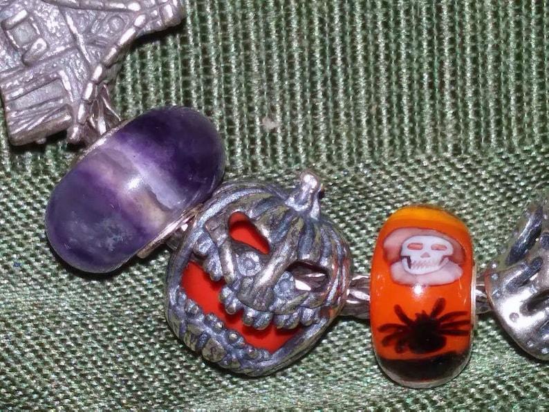 Trick or Treat 2 Pumpkin Bead 925 Silver Not Original Fits European Bracelet