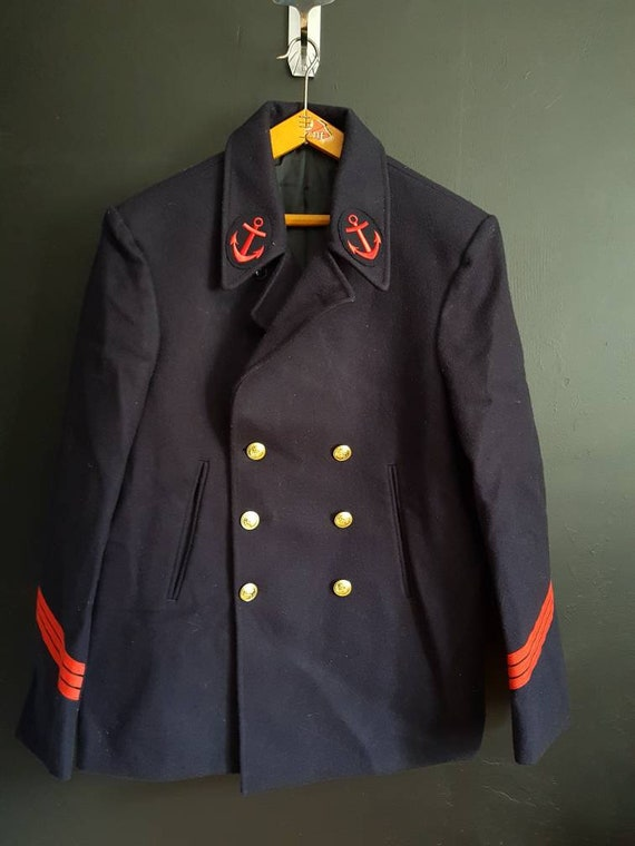 French navy jacket Double breasted peacoat