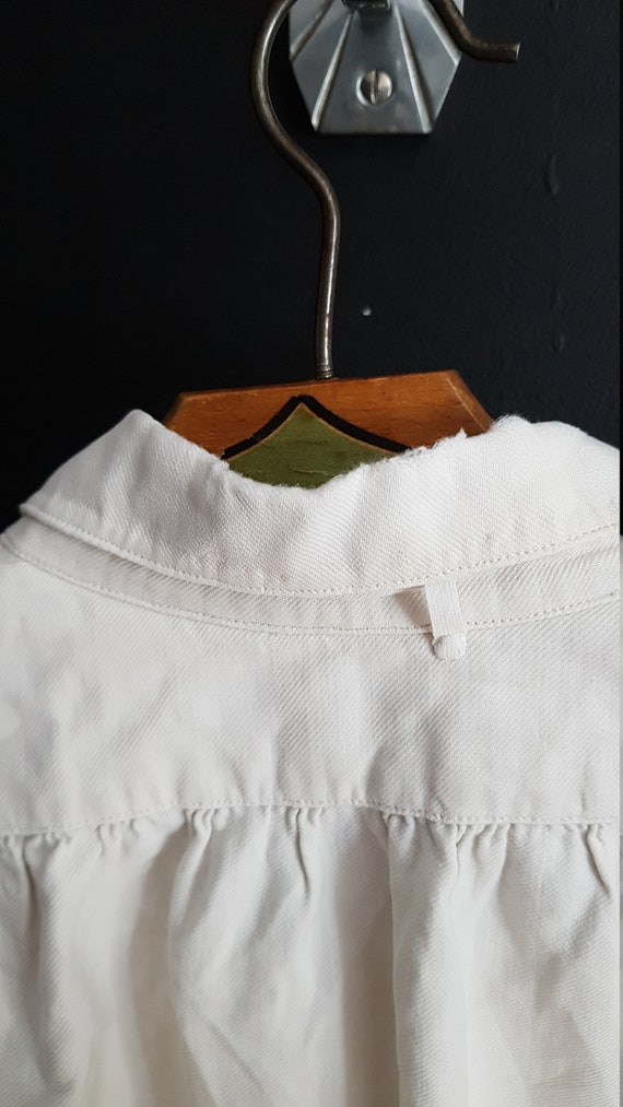 Vintage French White cotton shirt smock Patchwork… - image 8