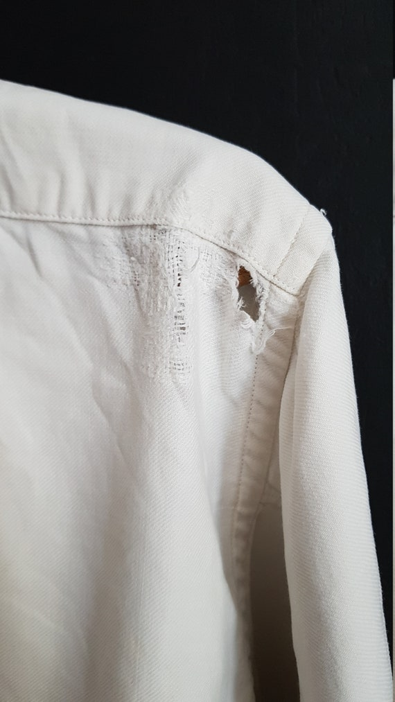 Vintage French White cotton shirt smock Patchwork… - image 10