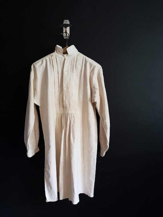 Antique French linen farmers work shirt smock