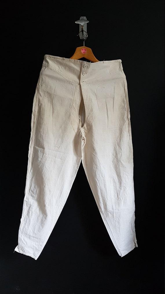 Antique mens linen drawers underwear breeches full