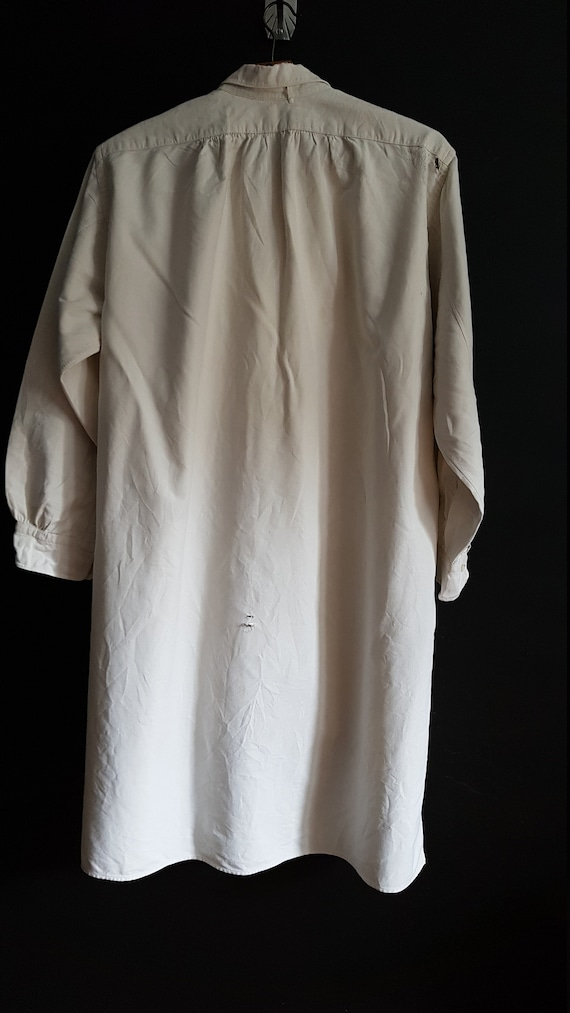Vintage French White cotton shirt smock Patchwork… - image 7