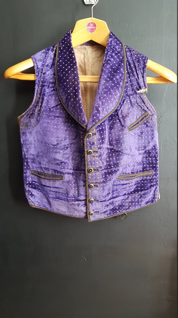 French antique purple silk velvet waistcoat