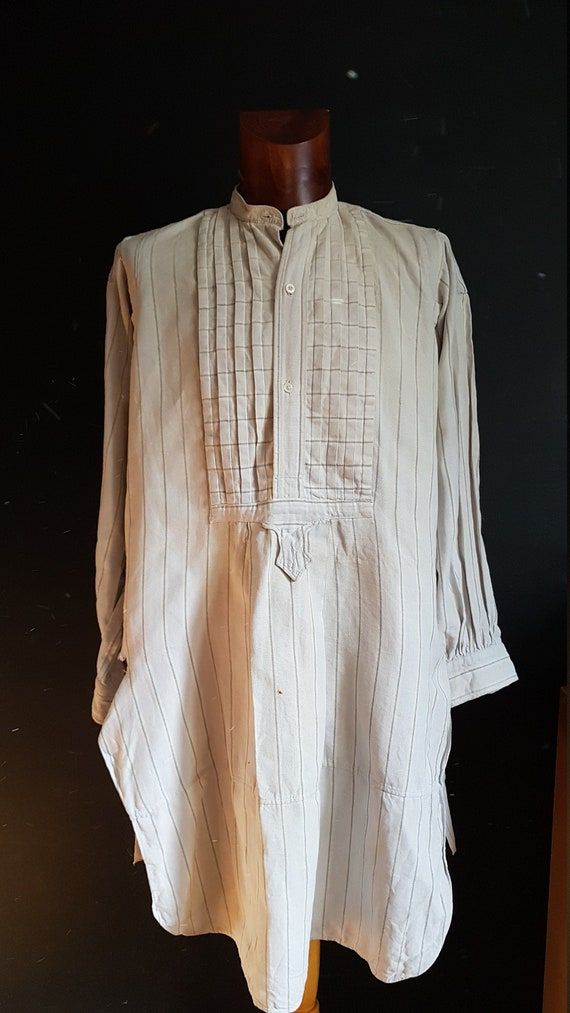 Vintage French  white work shirt pullover smock wo