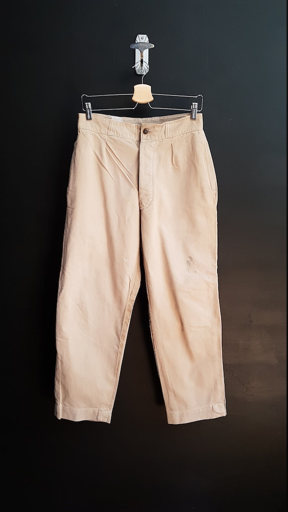 Vintage French military trousers beige khaki chino