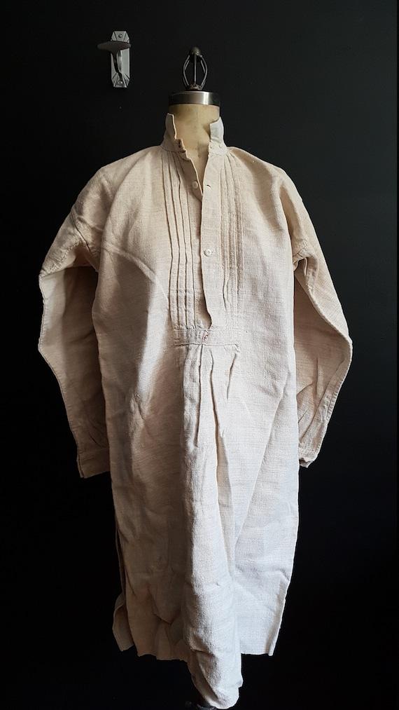Antique French linen shirt farmers shirt artist sm
