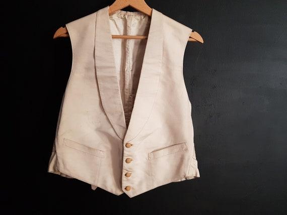 Vintage French white/ivory formal waistcoat vest e