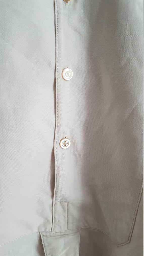 Vintage French White cotton shirt smock Patchwork… - image 3