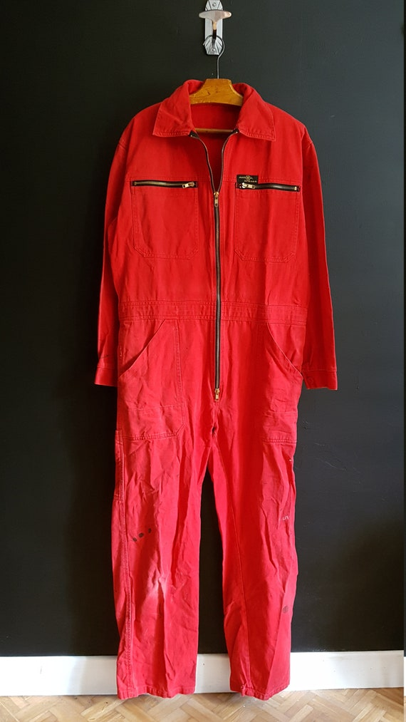 Vintage RED cotton sanfor overalls boiler suit jum
