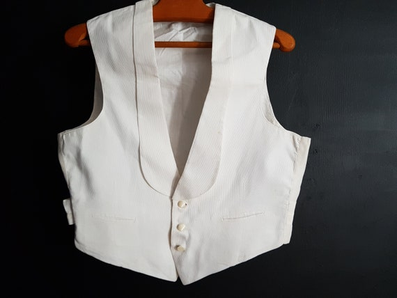 Vintage French white formal waistcoat vest evening