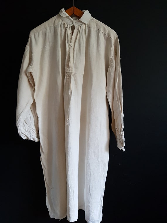Antique French linen shirt farmers biaude shirt ar