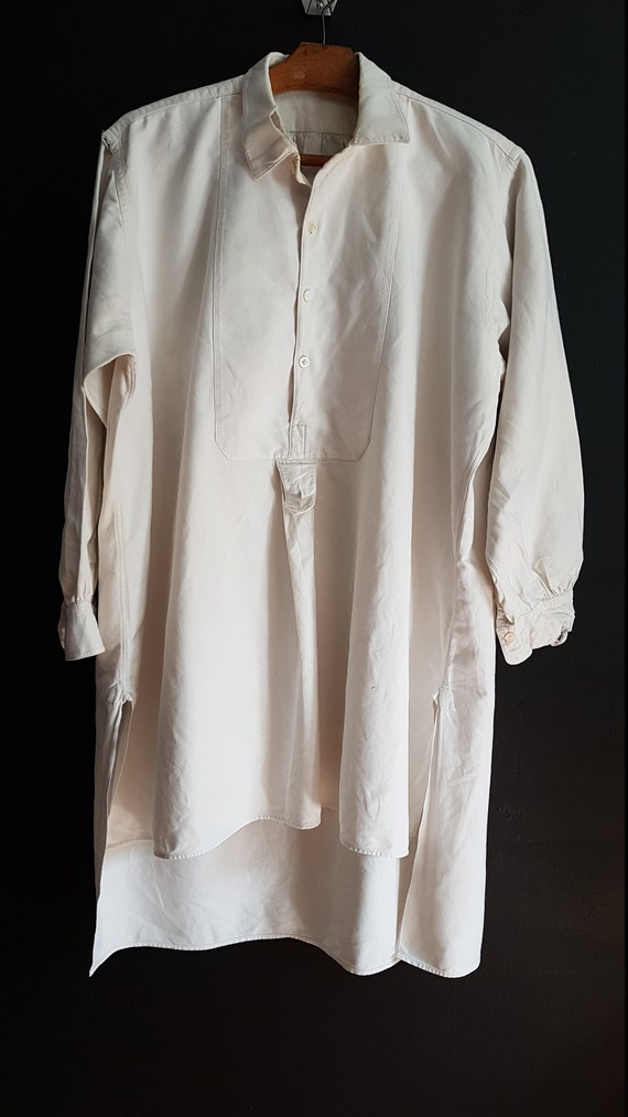 Vintage French White cotton shirt smock Patchwork