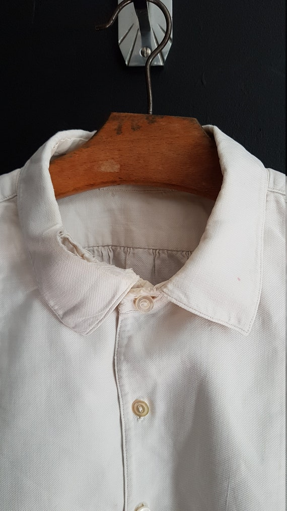 Vintage French White cotton shirt smock Patchwork… - image 2