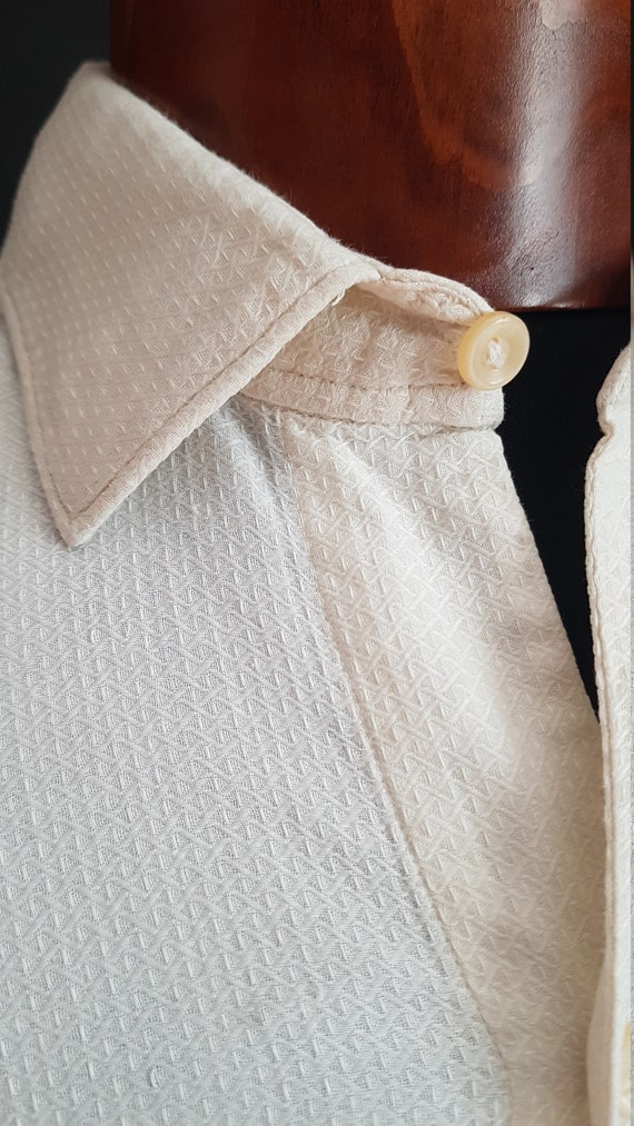 Vintage French formal white work shirt pullover sm