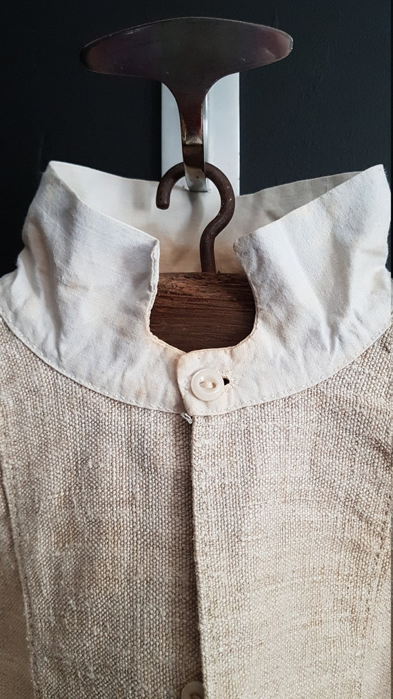 Antique French linen shirt farmers shirt artist sm