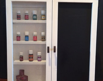 Wooden multi-purpose wall hanging Cabinet // essensial oils // spice rack // medicine cabinet // nail polish organizer