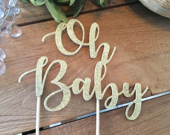 Oh Baby Cake Topper, Baby Shower Cake Topper, Baby Shower Glittery Cake Topper, Topper Gender Reveal Party.