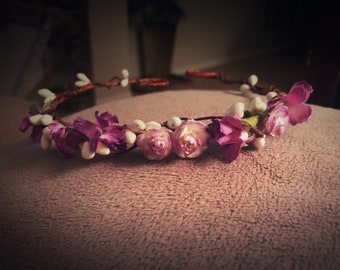 Purple baby/child Flower Crown Halo