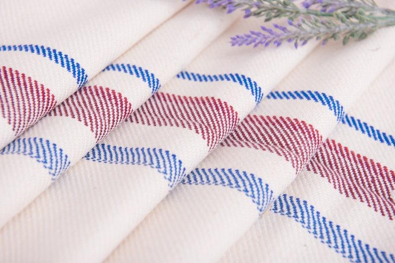 Upholstery fabric Blue Burgundy stripes Fabric Antique linen Grain Sack pillow wedding decoration pillow benchcushion tablerunner