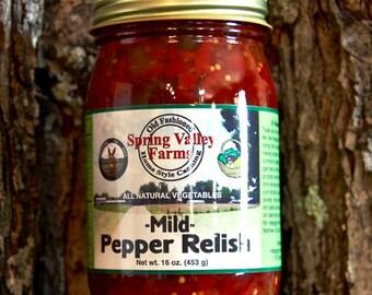 Spring Valley Farms Mild Pepper Relish   16oz