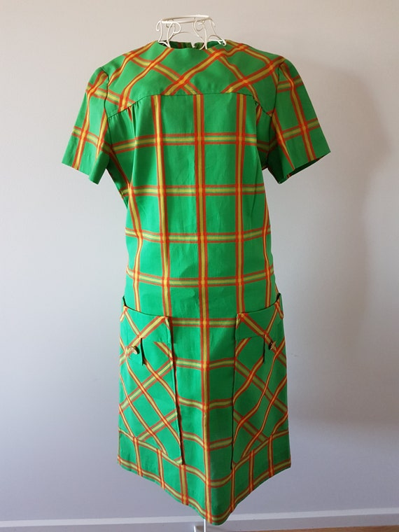 VINTAGE Alice of California Green Check Plaid Dres