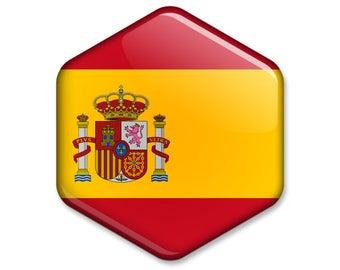 Flag of Spain Hexagonal Magnet // Spanish Flag Souvenir // Statement Gift Idea Glossy Six-sided Fridge Magnet