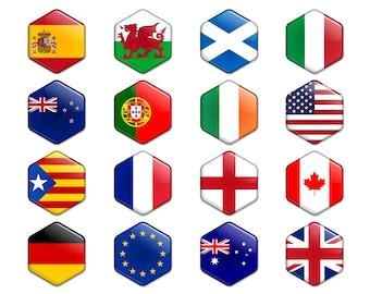Flags of Countries Hexagonal Magnets Spain Wales Scotland Italy Catalonia Portugal Ireland USA New Zealand France England Canada Germany EU