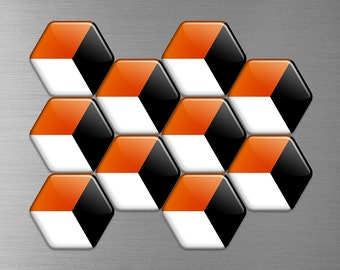 GREEK 3D ILLUSION Hexagon Magnets // Orange, Black and White Holiday Design Unique Gift Refrigerator Magnet Save Big with Volume Discounts