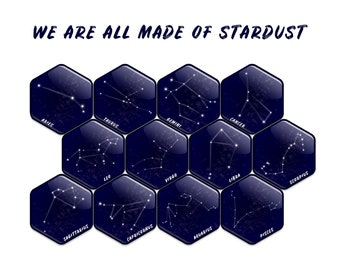 ZODIAC CONSTELLATIONS 12 Refrigerator Magnets Gift Fridge Magnets Hexagonal Unique Gifts Astronomy Magnets Astronomical Gift Zodiac Magnets