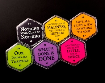 SHAKESPEARE QUOTES Hexagonal Glossy Fridge Magnets // Shakespeare Cute Gift Refrigerator Magnets // Madness Nothing She is Fierce Love All