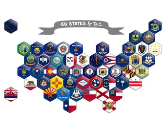 Magnetic Puzzle FLAGS of United STATES Collect Hexagon Magnets All 50 USA States & D.C. Unique American Souvenir Edition Refrigerator Magnet