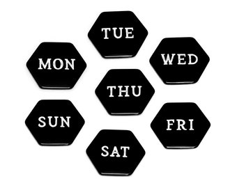 SEVEN DAYS Hexagonal Magnets // Week Black and White Refrigerator Magnet Gift Personal Motivation Glossy Six-sided Fridge Magnets