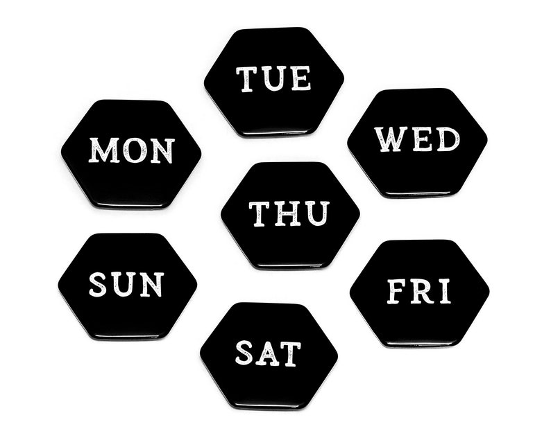 SEVEN DAYS Hexagonal Magnets // Week Black and White image 0