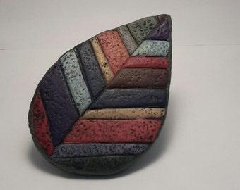 Multicoloured Leaf brooch polymer clay