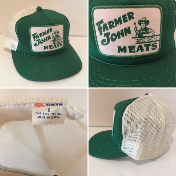 Vintage Farmer John Meats Trucker Hat Mesh Snapbac