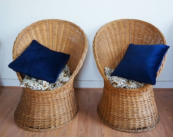 Pair of vintage woven Wicker Chair