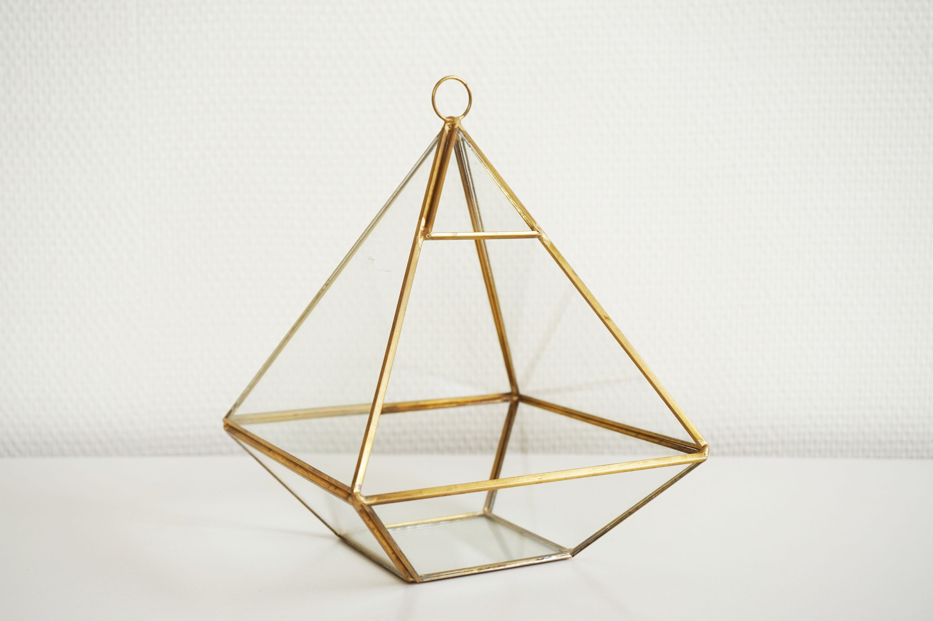 Brass And Vintage Glass Terrarium Or Storefront