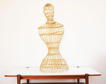 Larger bust or Wicker and rattan mannequin