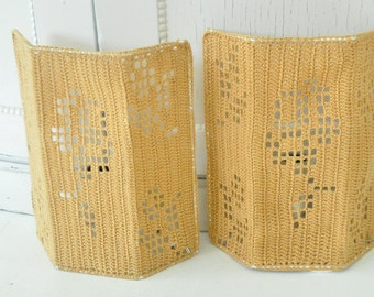Crochet Brown Lamp Boho Hippie Lamp Scandinavian vintage wall lamp Brown fabric lamp shade Handmade Mid century crochet lamp shade Gold Brow