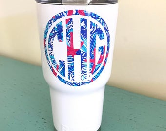 Lilly Pulitzer Monogrammed Insulated Steel Tumbler - RTIC, Yeti, 30oz, Cup, Monogram, Sticker, Decal, Powdercoat, Pink, Teal, White, Colored