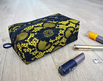 NEW - Lace makeup bag, cosmetic bag, travel bag, toiletry bag, navy and yellow, lace toiletry bag, dark blue and yellow travel bag