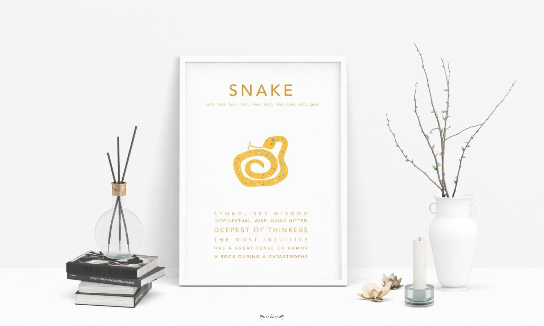Asian Chinese Horoscope Zodiac print poster design | Home Decor, Birthday,  Babyshower| Monkey, Rat, Rooster, Tiger, Dragon, Pig   - SNAKE