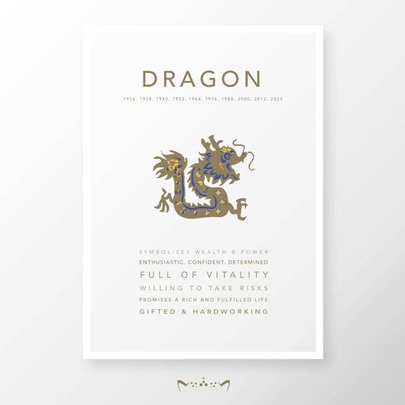Asian Chinese Horoscope Zodiac print poster design | Home Decor, Birthday,  Babyshower| Ox, Rabbit, Snake, Horse, Goat, Dog, Pig   - DRAGON